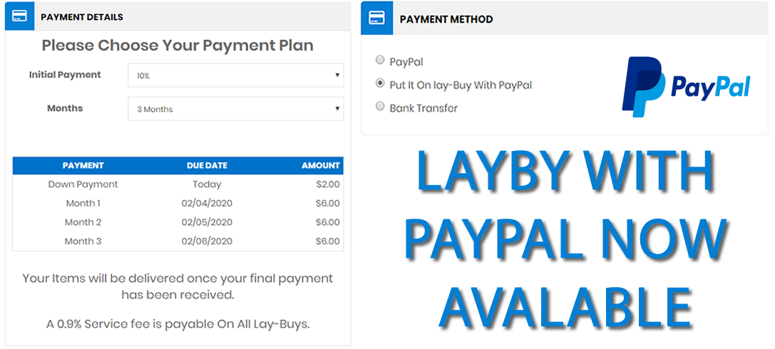Layby With Paypal Now Available