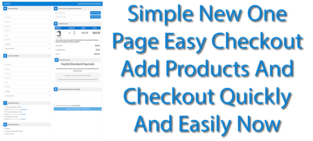 One Page Simple Quick Checkout
