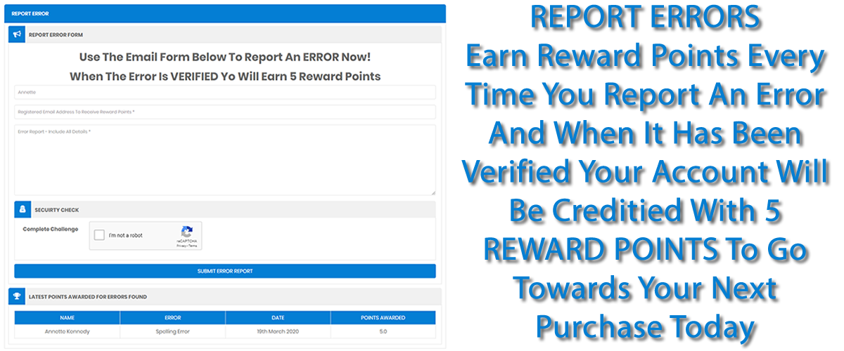 Report  ERRORS  And Earn FREE Reward Points Now