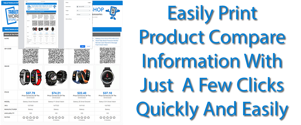 Print Product Compare Information Easily PRINT or PDF Download