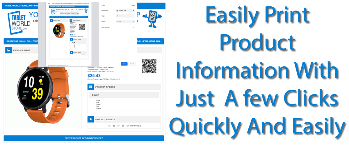 Print Product Information Easily PRINT or PDF Download