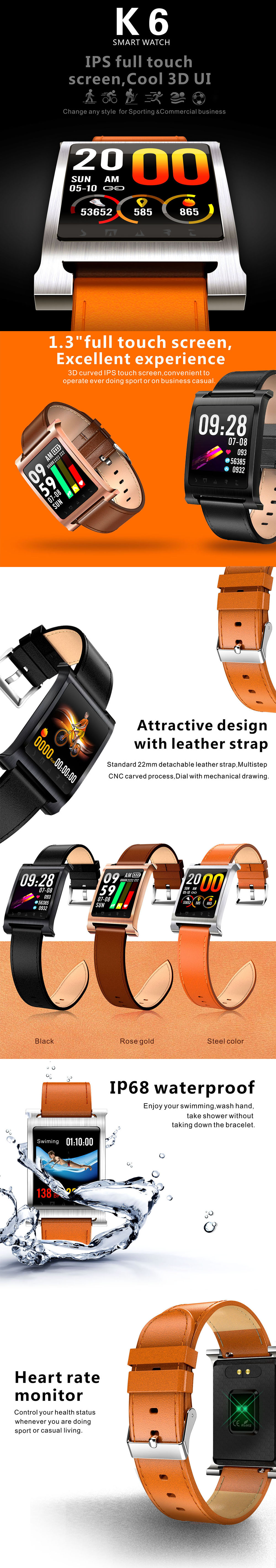 Bakeey-K6-Genuine-Leather-13-inch-Blood-Pressure-Oxygen-Heart-Rate-Task-Reminder-Smart-Watch-1355897