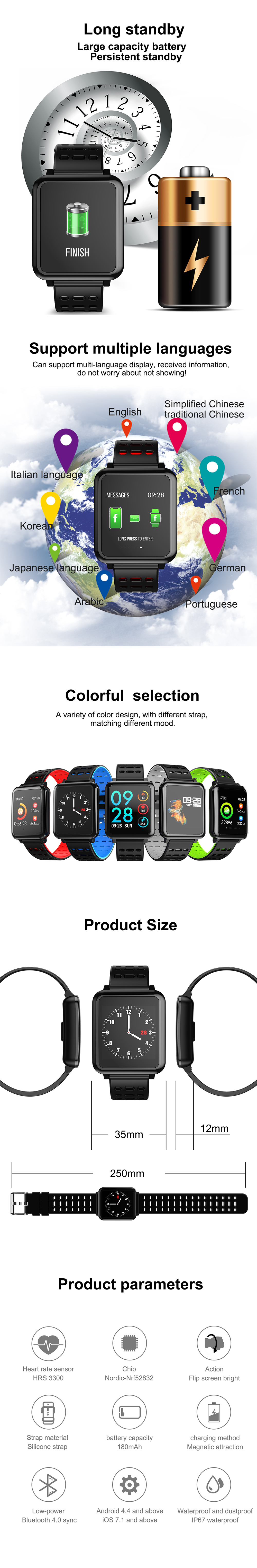 Bakeey-T2-Brightness-Weather-Music-HR-Blood-Pressure-Oxygen-Call-Messages-Remind-Smart-Watch-1353737